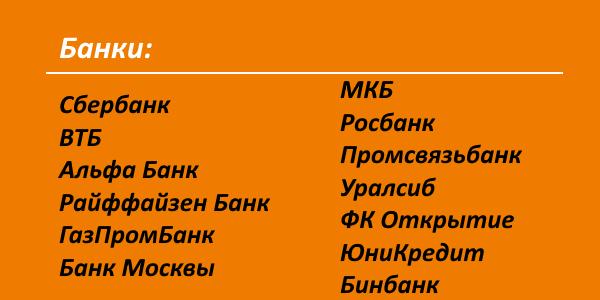список банков-партнеров ТКС, через которые можно снять деньги